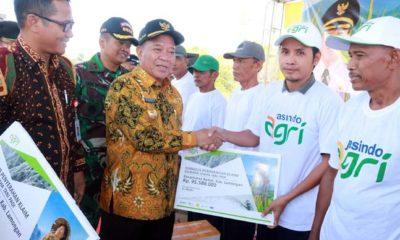 Bupati Lamongan Fadeli saat menyerahkan klaim asuransi pertanian